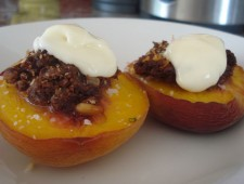 Sweet Juicy Baked Peaches with Cacao Nut Crumble.