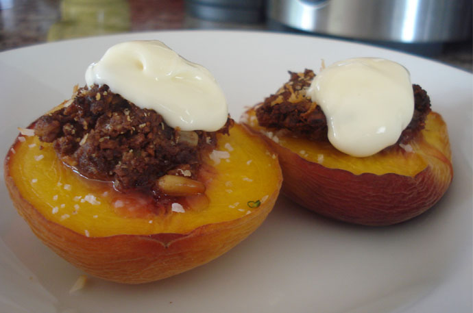 Baked Peaches with Cacao nut crumble
