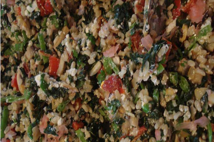 Spinach rice feata mix